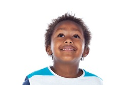Adorable afro-american child looking up isolated on a white background