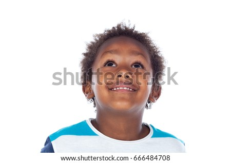 Adorable afro-american child looking up isolated on a white background #666484708