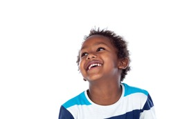 Adorable afroamerican child looking up isolated on a white background