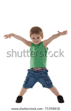 Adorable and happy little boy with hands in air. isolated on white background