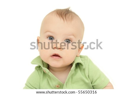 Adorable Baby Boy headshot portrait, on white background