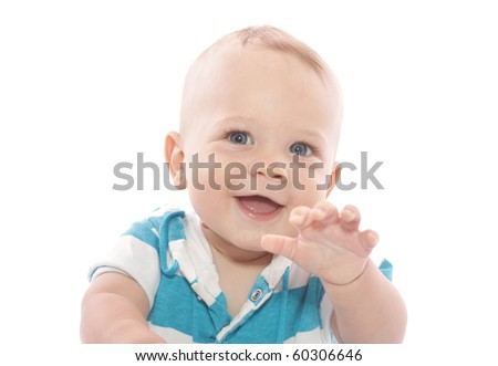 Adorable Baby Boy laughing, on white background
