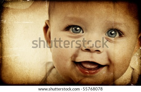 Adorable baby boy on textured background