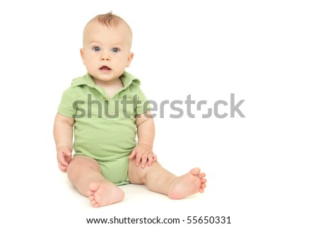 Adorable Baby Boy sitting, on white background