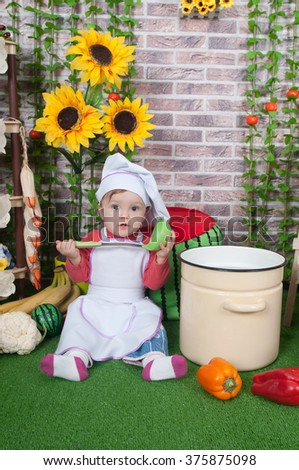adorable baby cooking in kitchen. little cute child in costume of Cook. Pretty beautiful  sc 1 st  Avopix.com & Free photos Adorable baby cooking in kitchen. little cute child in ...