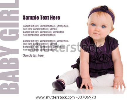 Adorable Baby Girl in purple dress with Text Space to the left