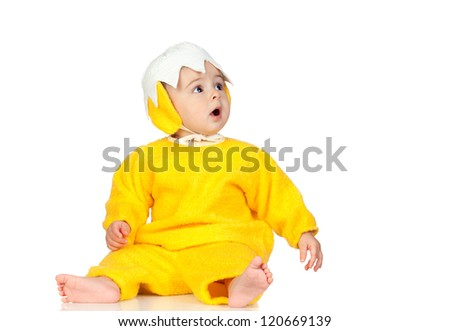 Adorable baby girl with chicken costume isolated on white background