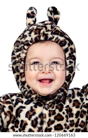 Adorable baby girl with leopard costume isolated on white background