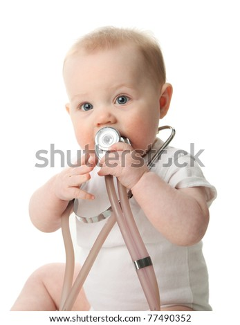 Adorable baby sitting up wearing and playing with a medical stethoscope, isolated on white