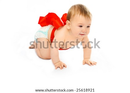 adorable baby tied up with a red ribbon isolated against white background