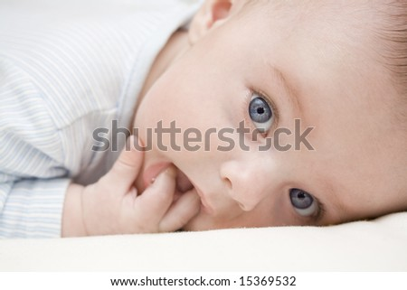 adorable baby with blue eyes