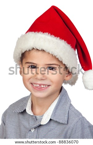0b1649e544c Adorable baby with Santa Hat isolated on white background