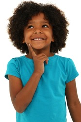 Adorable black girl child thinking with a smile over white.