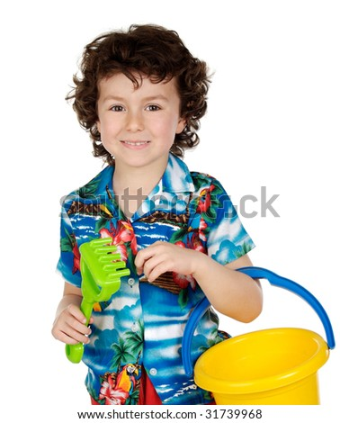 adorable boy playing in the beach over a white back ground