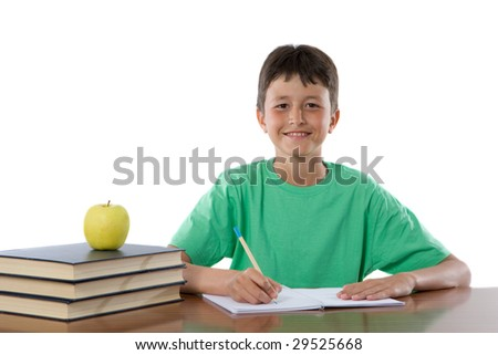 Adorable boy studying on a over white background