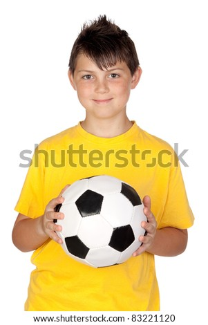 Adorable boy with a soccer ball isolated on white background