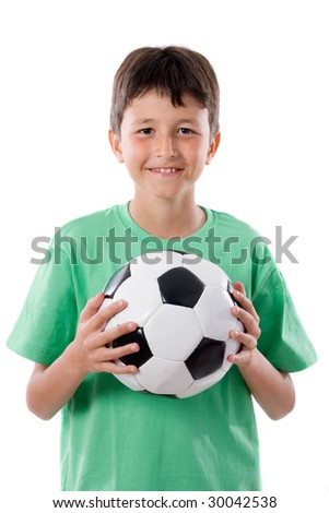 adorable boy with ball a over white background