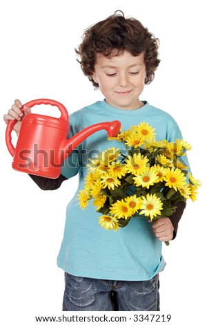 adorable boy with flowers a over white background - stock photo