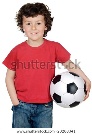 Adorable boy with soccerball isolated over white