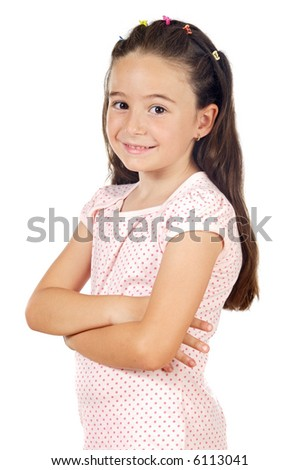 adorable casual girl smiling a over white background