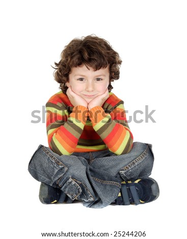 Adorable caucasian boy sitting isolated over white
