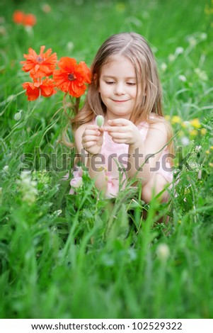 adorable child at the meadow