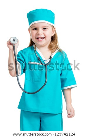 Adorable child girl uniformed as doctor isolated on white background