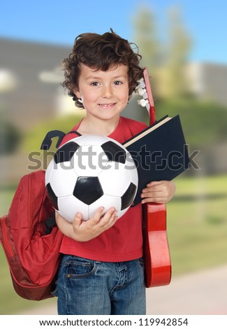 adorable child happy to make activities extracurricular - stock photo