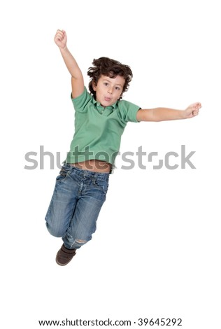 Adorable child jumping isolated over white background