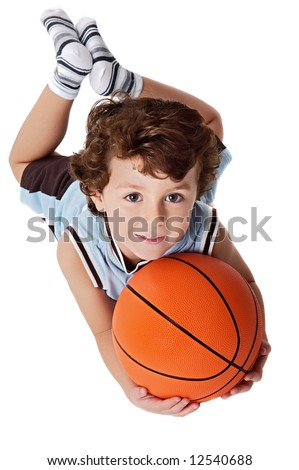 adorable child playing the basketball a over white background