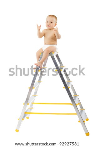 Adorable child sitting on top of stepladder, hands raise up. White background - stock photo