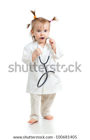 Adorable child uniformed as doctor over white background
