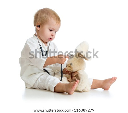 Adorable child with clothes of doctor isolated on white