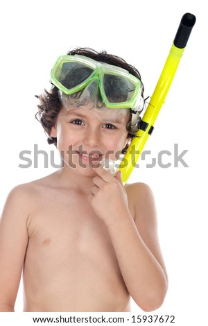 Adorable child with diving mask a over white background