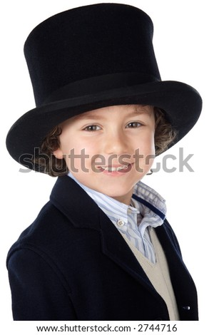 Adorable child with hat a over white background