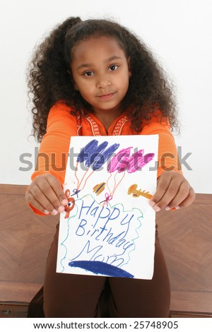... five year old African American girl holding hand ma