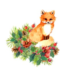 Adorable fox in Christmas tree branches, spruce twigs. winter flowers, red berries and mistletoe. Watercolor