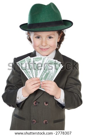 adorable future businessman a over white background