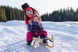 Adorable Girl Enjoying Sledding While Her Mother Pushing Sledge Against Pine Tree Forest During Winter