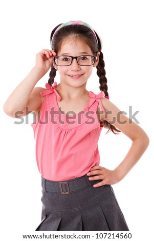 Adorable girl holding a glasses, isolated on white