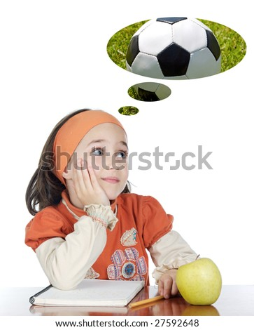 Adorable girl in class thinking about the ball a over white background - stock photo