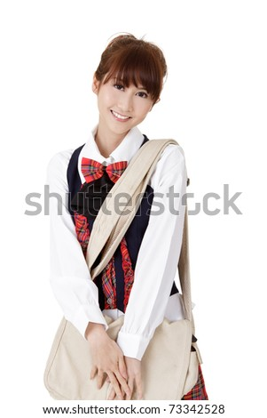 Adorable girl of student with school bag, closeup portrait on white background.