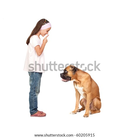 Adorable girl ordering silence his dog isolated on white background