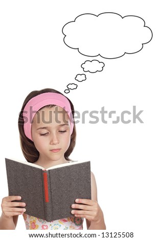 adorable girl reading a book a over white background