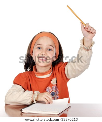 Adorable girl student asking to speak in the school on a over white background