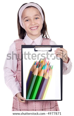 adorable girl student with notepad (back to school)
