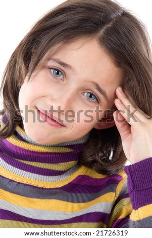 Adorable girl whit headache on a over white background