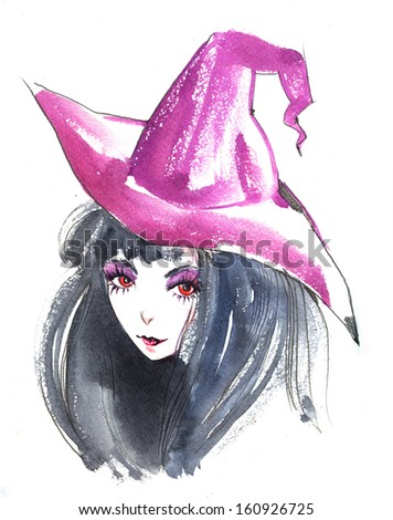 adorable halloween witch in violet hat