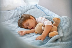 Adorable kid boy after sleeping in grey bed with toy.  Cute healthy little toddler baby boy child sleeping / taking a nap under blanket in bed while hugging teddy bear.