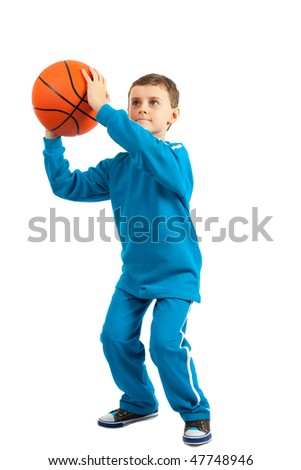 Adorable kid with basketball isolated on white background